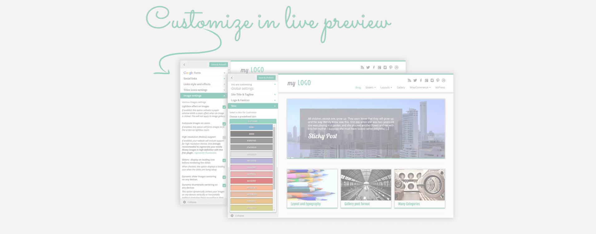 Viele Layout- und Designoptionen stehen über den WordPress